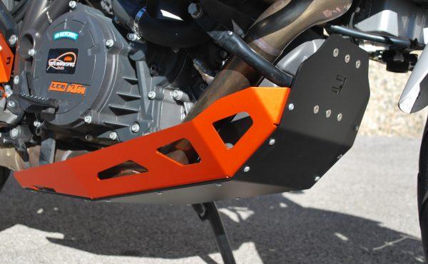 Motorschutzplatte KTM304A Bicolor Schwarz Orange Befestigt MyTech Moko für KTM